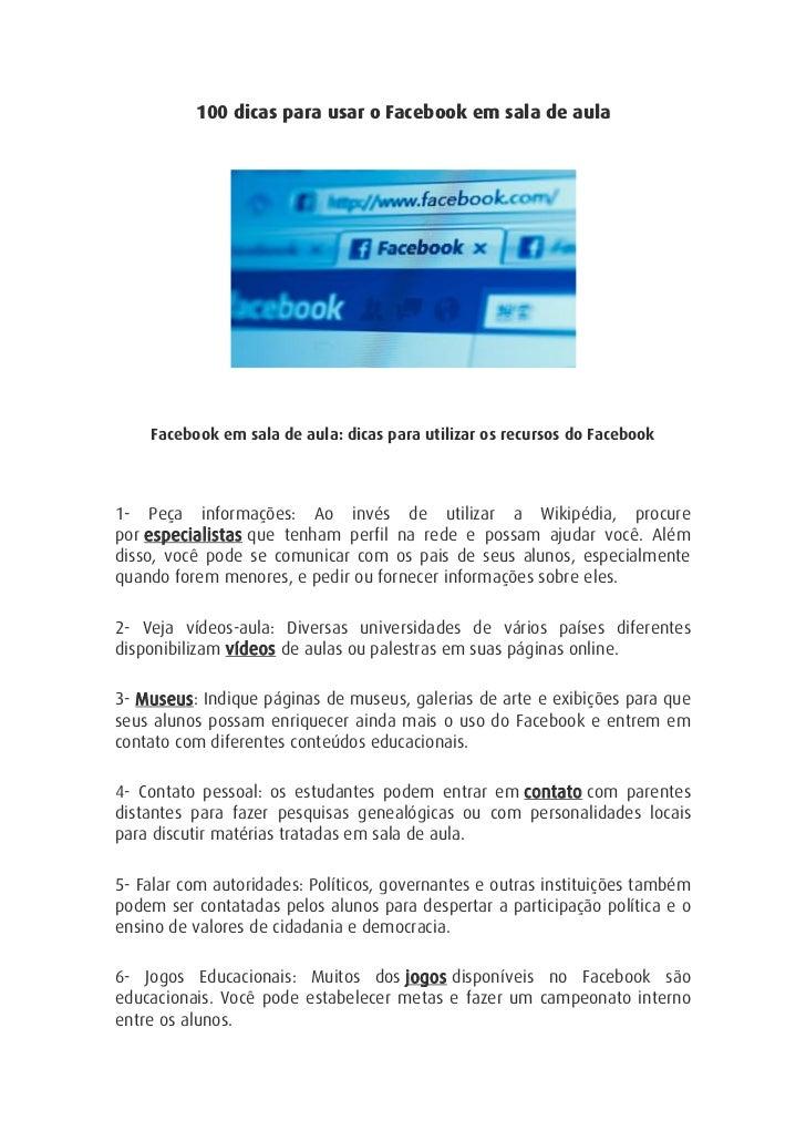 100 dicas para usar o Facebook em sala de aula    Facebook em sala de aula: dicas para utilizar os recursos do Facebook1- ...