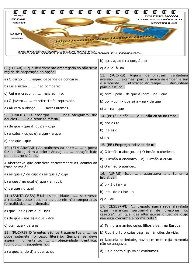 100 EXERCÍCIOS DE REGÊNCIA NOMINAL E VERBAL Slide 2