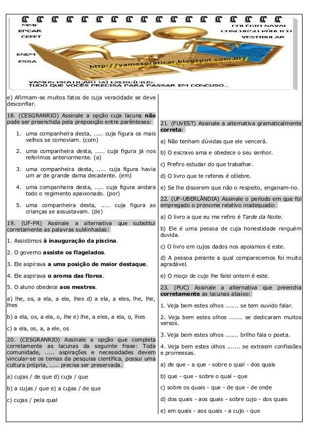 100 EXERCÍCIOS DE REGÊNCIA NOMINAL E VERBAL Slide 3