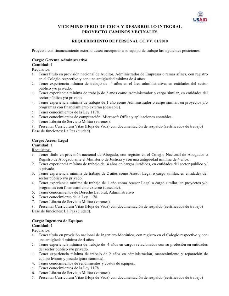 VICE MINISTERIO DE COCA Y DESARROLLO INTEGRAL                         PROYECTO CAMINOS VECINALES                          ...
