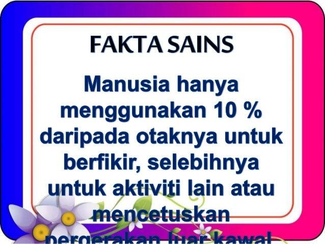 FAKTA SAI NS  Manusia hanya menggunakan 10 %  daripada otaknya untuk berfikir,  selebihnya untuk aktiviti Iain atau  Ä .  ...