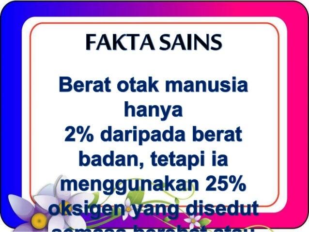 FAKTA SAI NS  Berat otak manusia hanya  2% daripada berat badan,  tetapi ia _ , menggunakan 25%