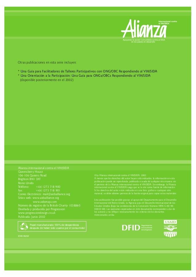 Alianza internacional contra el VIH/SIDA Queensberry House 104-106 Queens Road Brighton BN1 3XF Reino Unido Teléfono: +44 ...