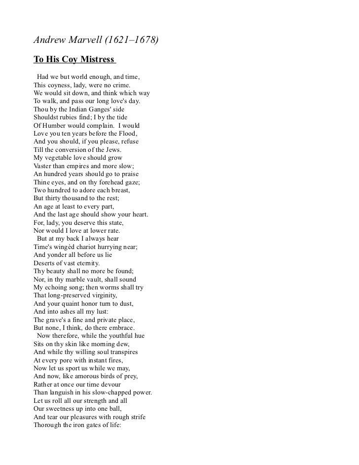 to his coy mistress poem pdf