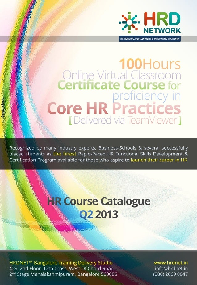 100 Hours 2 Months Hrdnet Advanced Certificate Course Of Profici