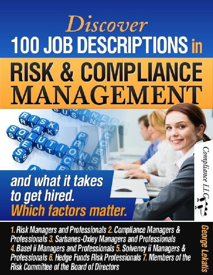 Discover 100 Job Descriptions in Risk and Compliance Management and w – Risk Management Job Description
