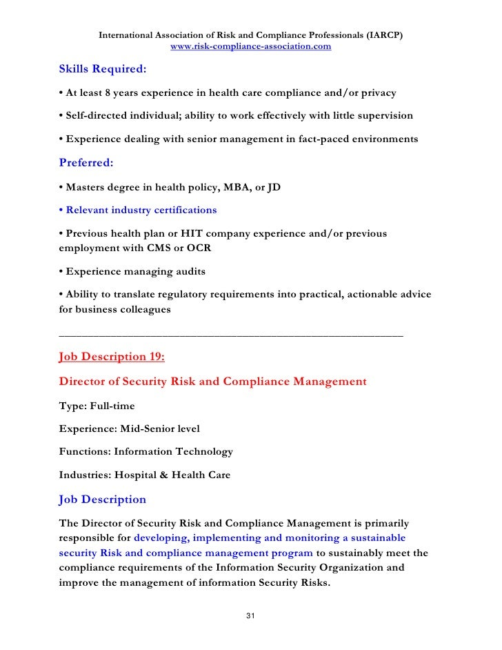 Discover  Job Descriptions In Risk And Compliance Management And W