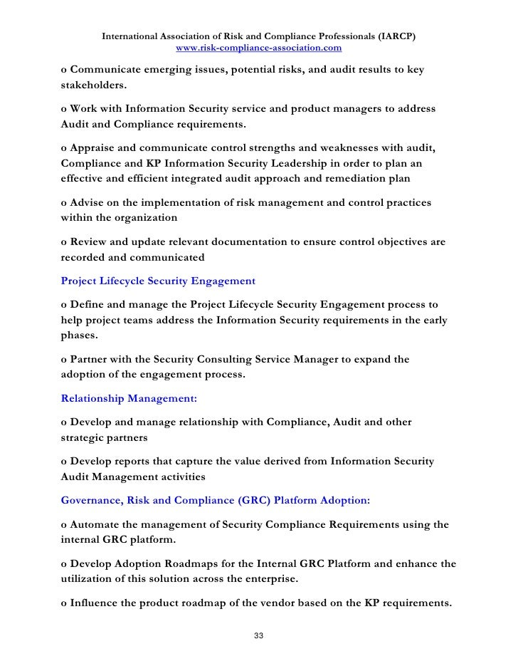 Amazing Risk Management Job Description Gallery - Best Resume