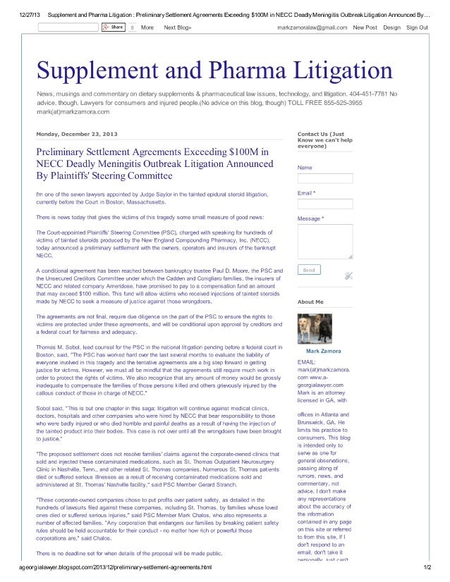 Preliminary Settlement Agreements Exceeding $100M in NECC Deadly Meningitis Outbreak Litigation Announced By Plaintiffs' S...