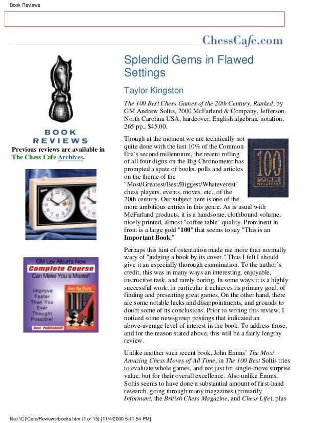 Book Reviews                                                     Splendid Gems in Flawed                                  ...
