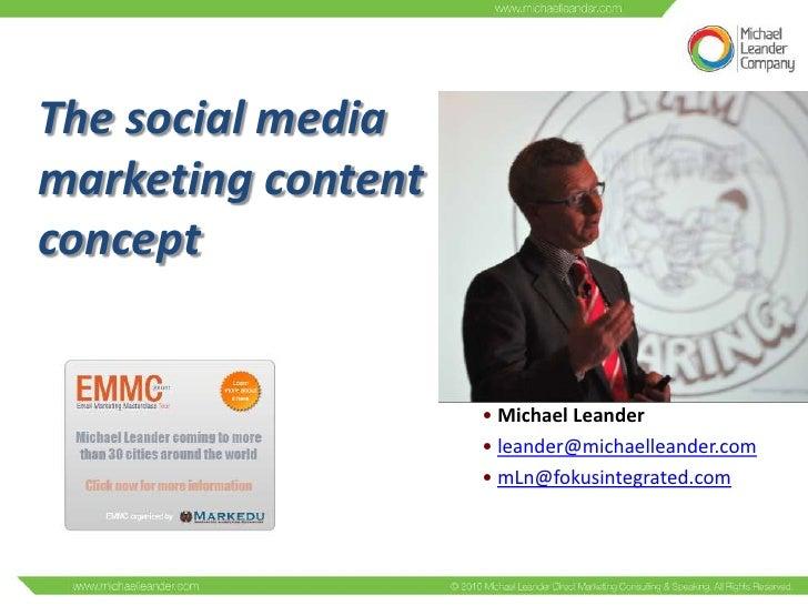 The social mediamarketing contentconcept                    • Michael Leander                    • leander@michaelleander....