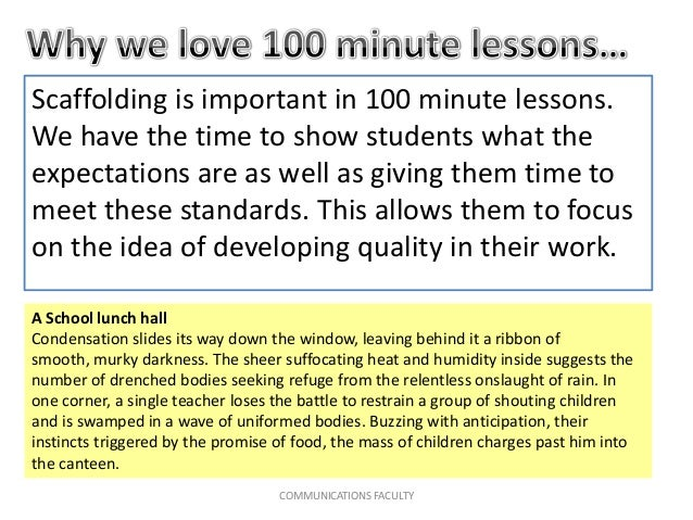 Scaffolding is important in 100 minute lessons. We have the time to show students what the expectations are as well as giv...
