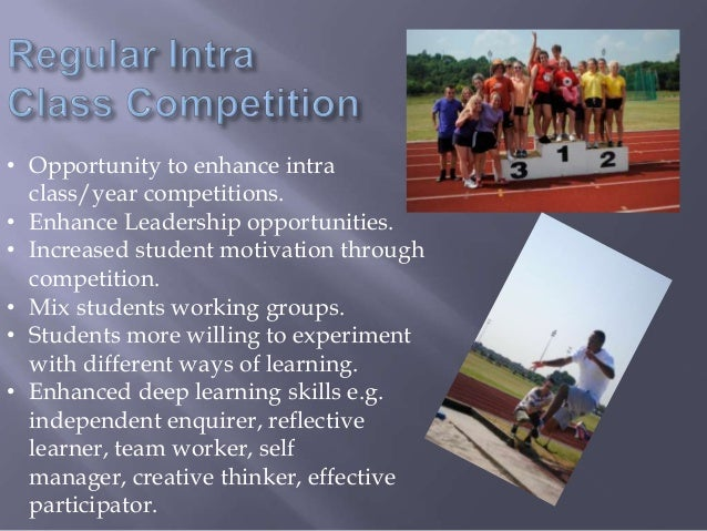 • Opportunity to enhance intra class/year competitions. • Enhance Leadership opportunities. • Increased student motivation...
