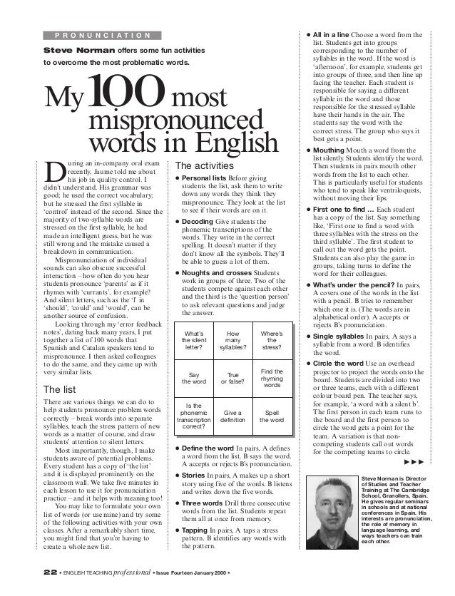100 mispronounced words