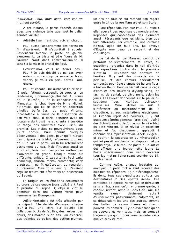 Certificat VSO                   Français oral – Nouvelles 100% - éd. Milan 1992                 juin 2002POIREAUX. Paul, ...