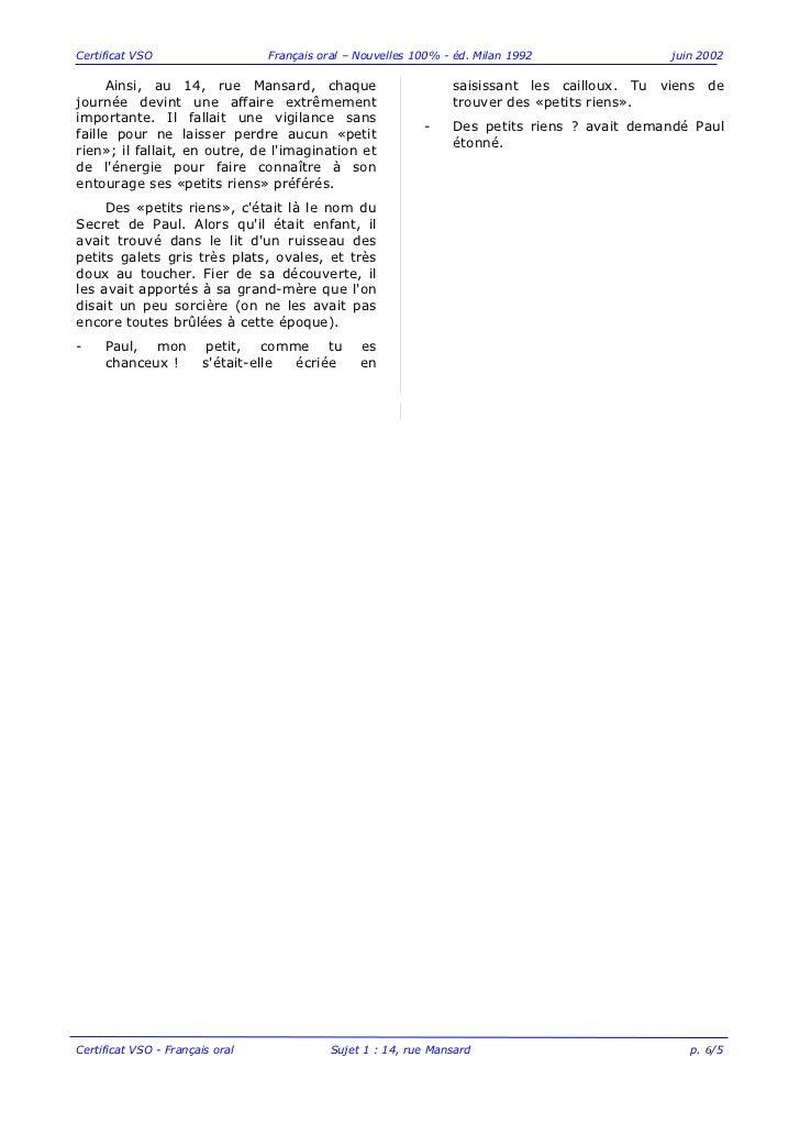 Certificat VSO                   Français oral – Nouvelles 100% - éd. Milan 1992              juin 2002      Ainsi, au 14,...