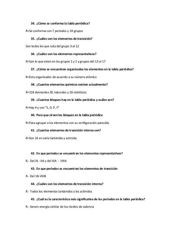 100 preguntas de examen 4 34 cmo se conforma la tabla peridica urtaz Images