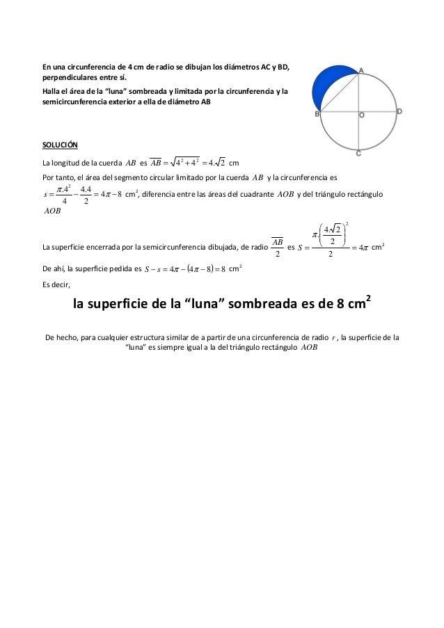 """En una circunferencia de 4 cm de radio se dibujan los diámetros AC y BD, perpendiculares entre sí. Halla el área de la """"lu..."""