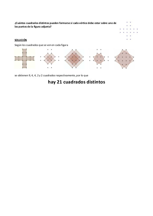 ¿Cuántos cuadrados distintos pueden formarse si cada vértice debe estar sobre uno de los puntos de la figura adjunta? SOLU...
