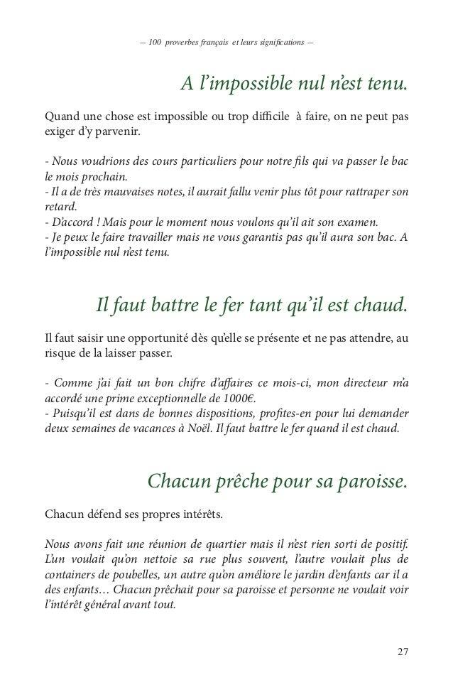 100 Proverbes Francais En Pdf