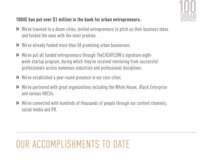 100UE has put over $1 million in the bank for urban entrepreneurs.  » We've traveled to a dozen cities, invited entreprene...