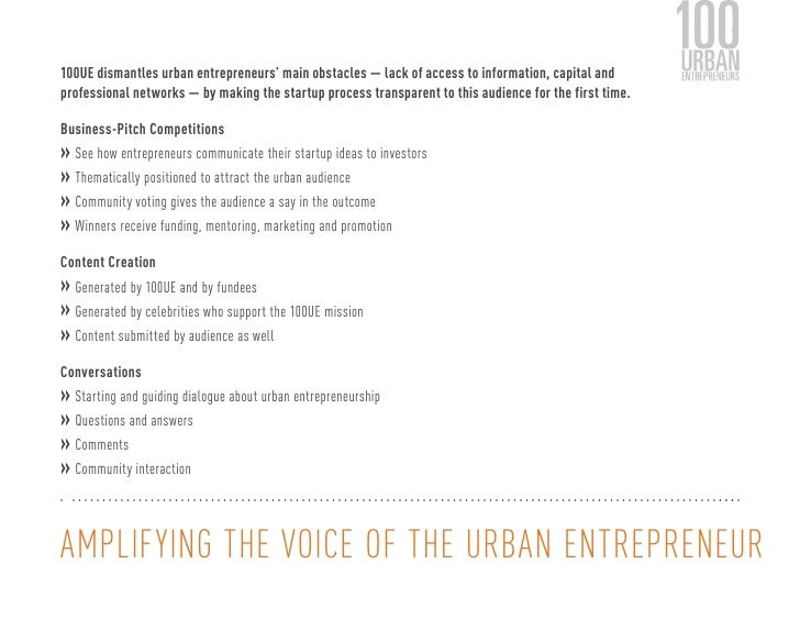100UE dismantles urban entrepreneurs' main obstacles — lack of access to information, capital andprofessional networks — b...