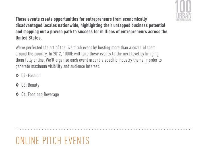 These events create opportunities for entrepreneurs from economicallydisadvantaged locales nationwide, highlighting their ...