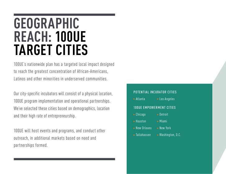GEOGRAPHICREACH: 100UETARGET CITIES100UE's nationwide plan has a targeted local impact designedto reach the greatest conce...