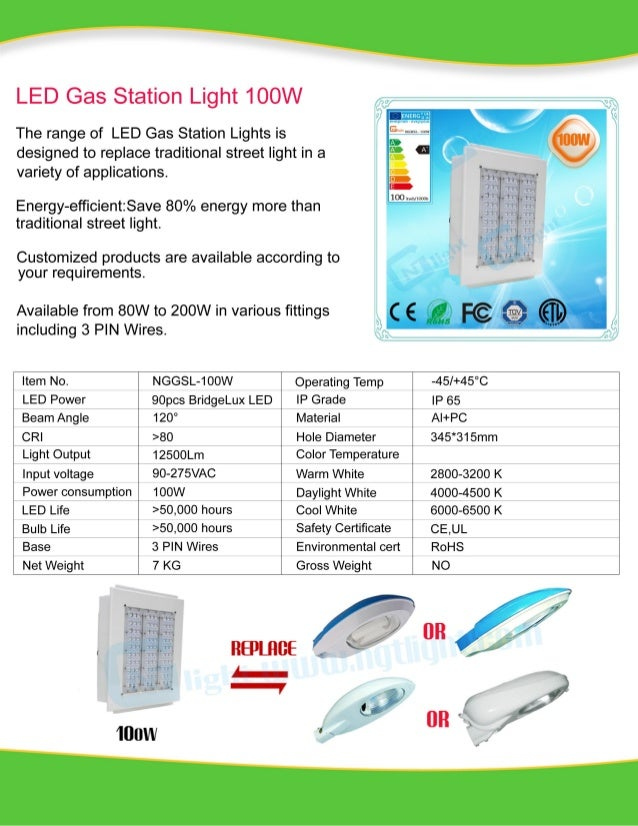 100W LED Gas Station Specification