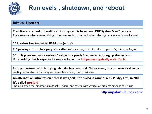101 1 3 runlevels , shutdown, and reboot