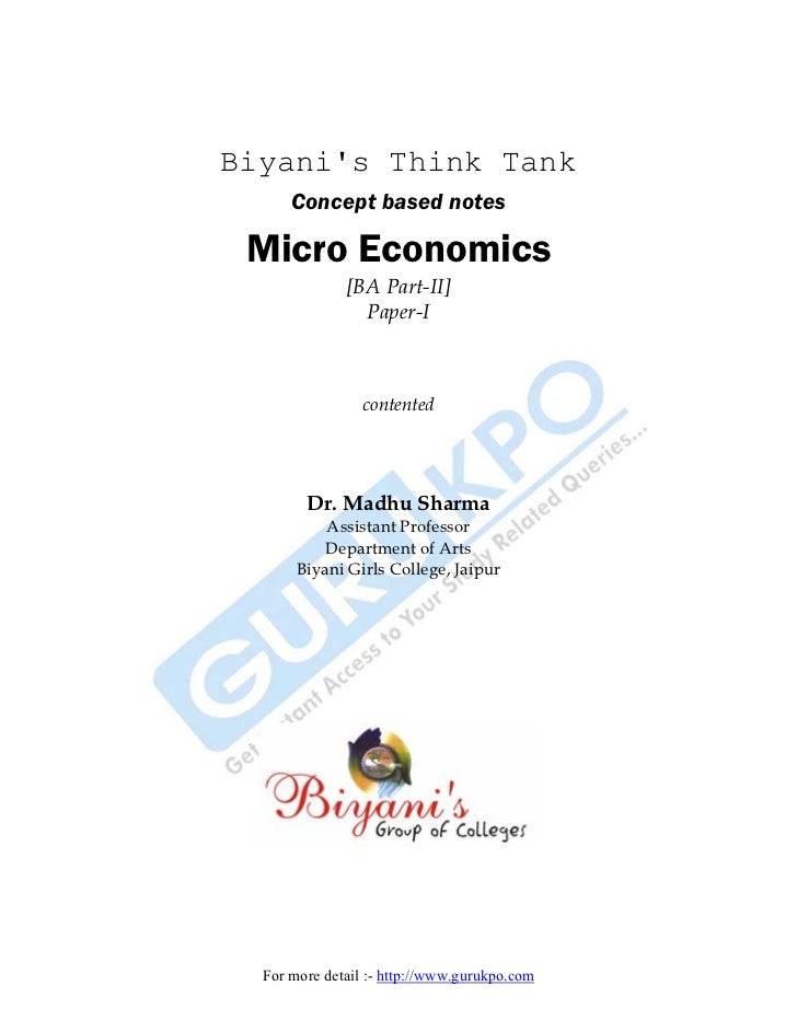 Biyanis Think Tank      Concept based notes Micro Economics              [BA Part-II]                Paper-I              ...
