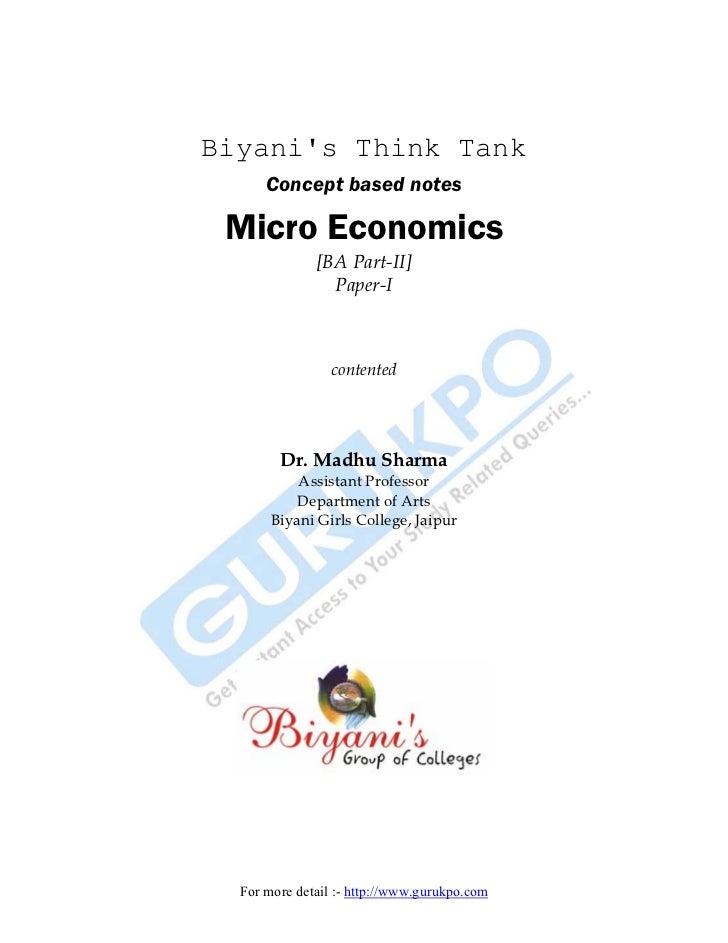 Biyanis Think Tank      Concept based notes Micro Economics              [BA Part-II]                Paper-I              ...