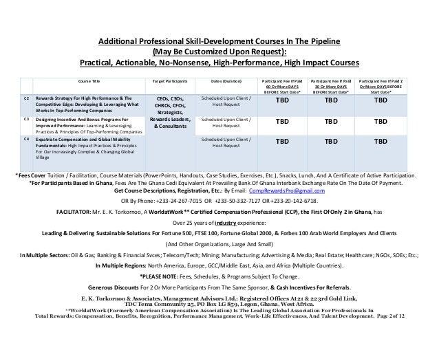 2017 Second Quarter Professional Skill-Development Courses: Sales Compensation; Sales Quotas; Compensation & Total Rewards Management; Designing Salary Structures; Employee Engagement, Executive Compensation, Performance Management Revolution, Etc. Slide 2
