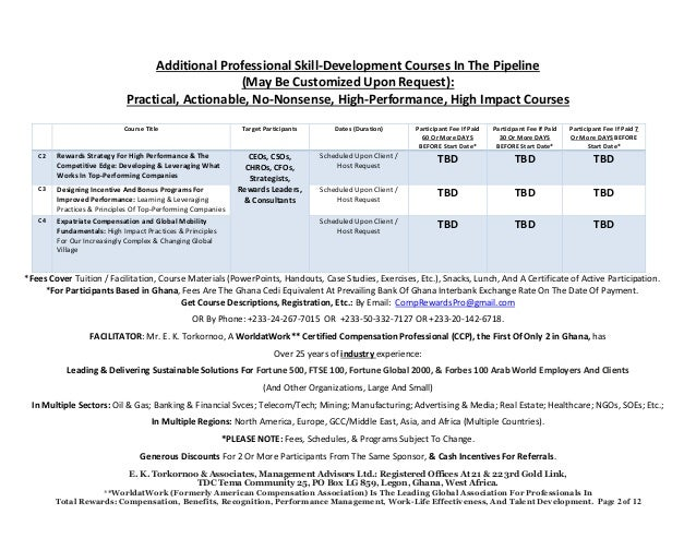 2017 Second Quarter Professional Skill-Development Courses: Compensation & Total Rewards Management; Designing Salary Structures; Employee Engagement; Executive Compensation; Performance Management; Sales Compensation; Sales Quotas; Etc. Slide 2