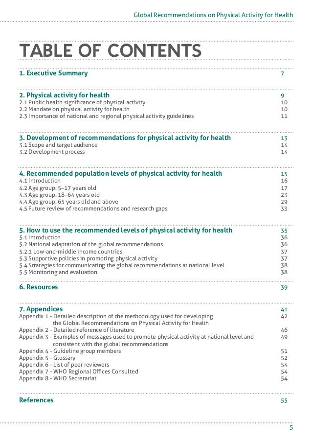 world health organization physical activity guidelines