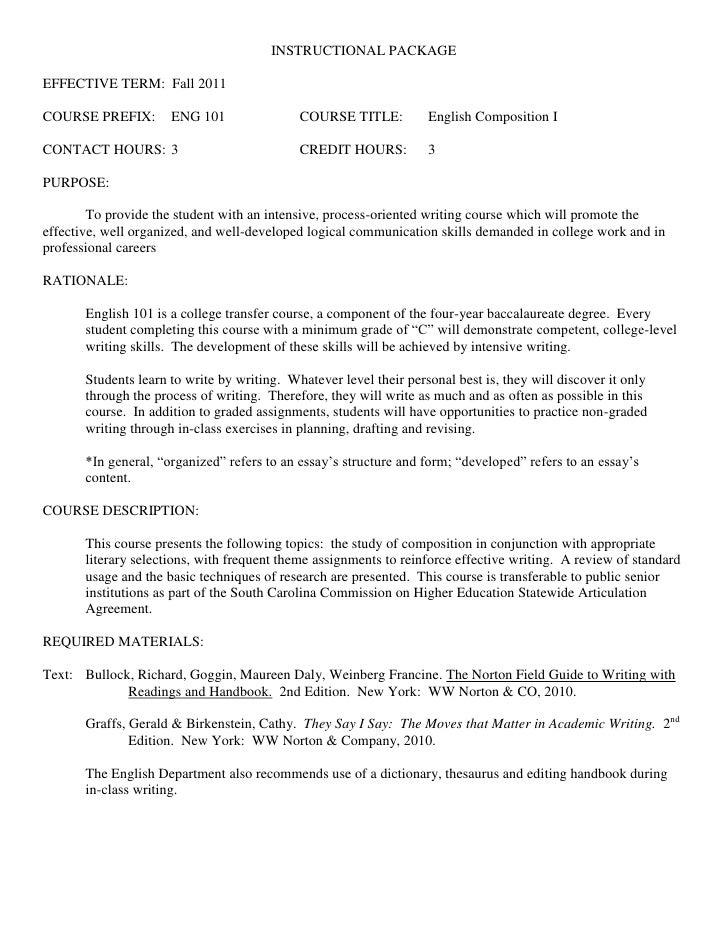 INSTRUCTIONAL PACKAGEEFFECTIVE TERM: Fall 2011COURSE PREFIX:        ENG 101                COURSE TITLE:          English ...