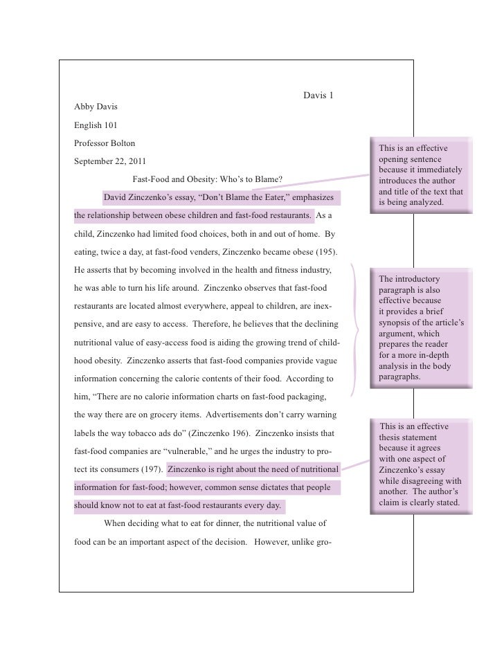 What Is A Thesis Statement In An Essay Examples Fast Food Essay Compare And Contrast Essay Sample Paper also Thesis Argumentative Essay Fast Food Essay  Romefontanacountryinncom Persuasive Essay Topics For High School Students