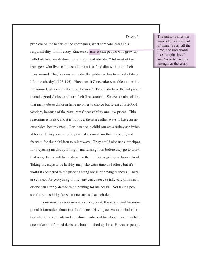 nutritional analysis essay