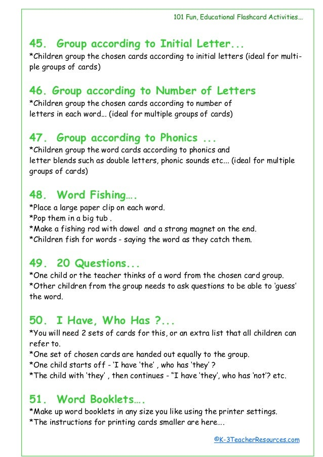 101 Ways To Use Word Cards