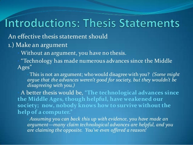 2. An Effective Thesis Statement ...