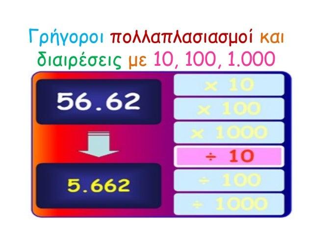 Γρήγοροι πολλαπλασιασμοί και διαιρέσεις με 10, 100, 1.000