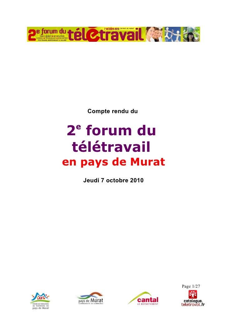 Compte-rendu Forum Télétravail à Murat (Cantal)