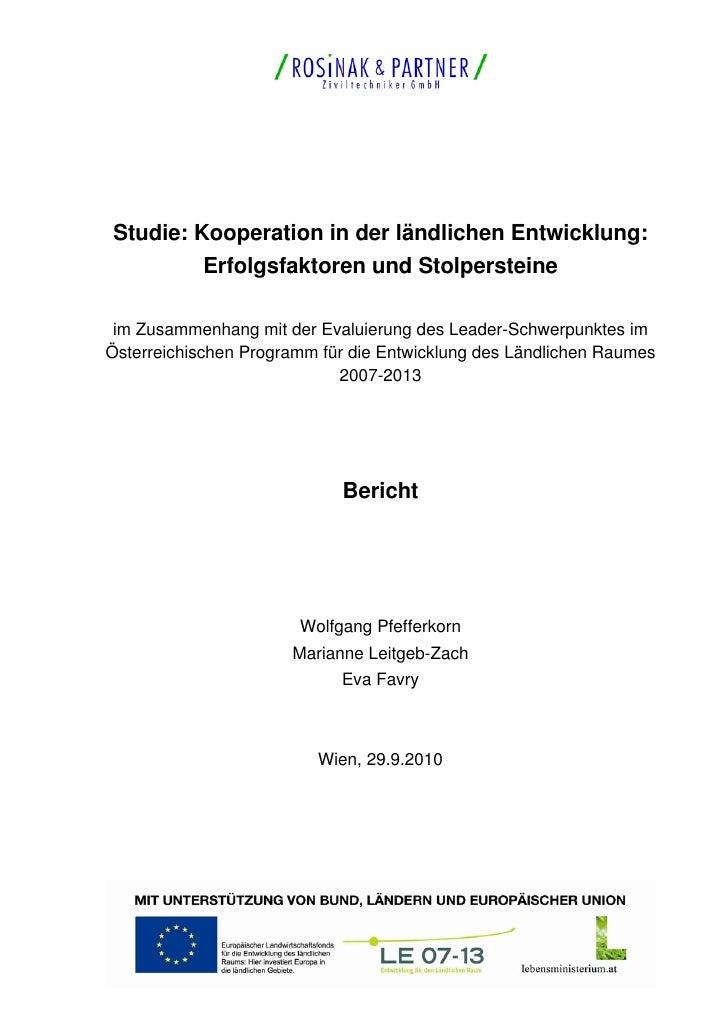 Studie: Kooperation in der ländlichen Entwicklung:           Erfolgsfaktoren und Stolpersteine im Zusammenhang mit der Eva...