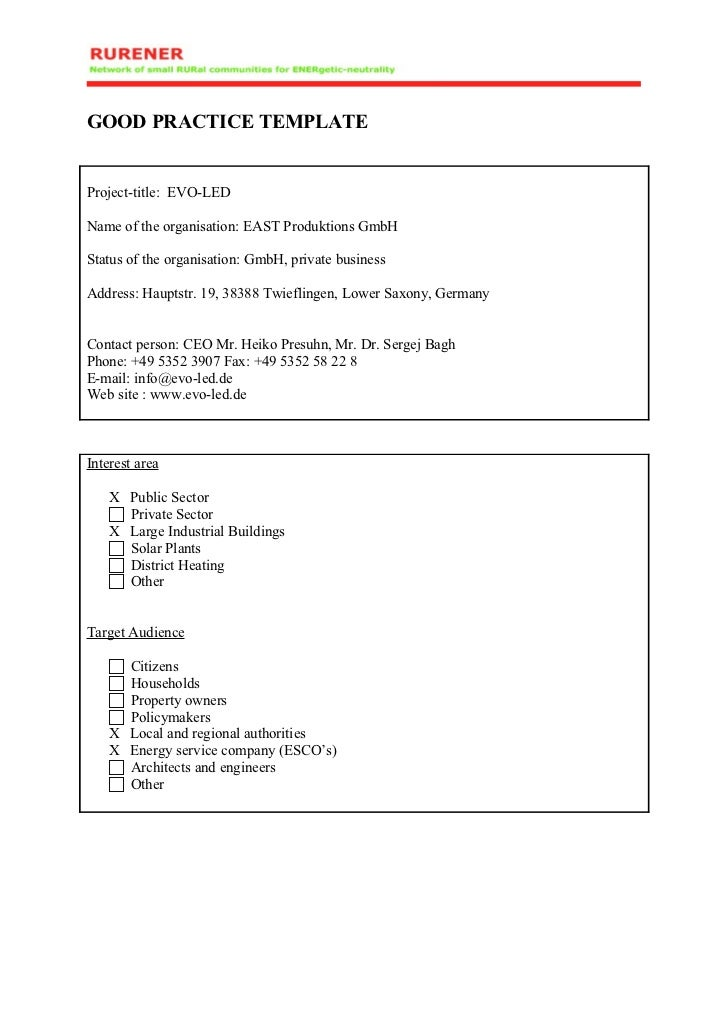GOOD PRACTICE TEMPLATEProject-title: EVO-LEDName of the organisation: EAST Produktions GmbHStatus of the organisation: Gmb...