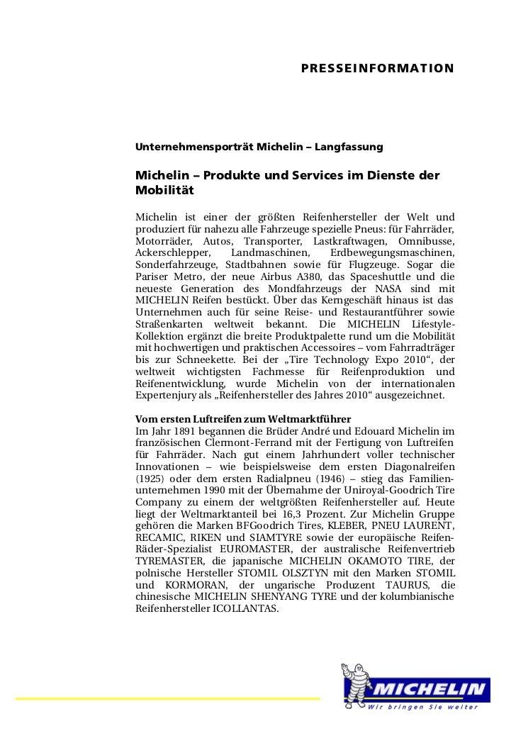 PRESSEINFORMATIONUnternehmensporträt Michelin – LangfassungMichelin – Produkte und Services im Dienste derMobilitätMicheli...