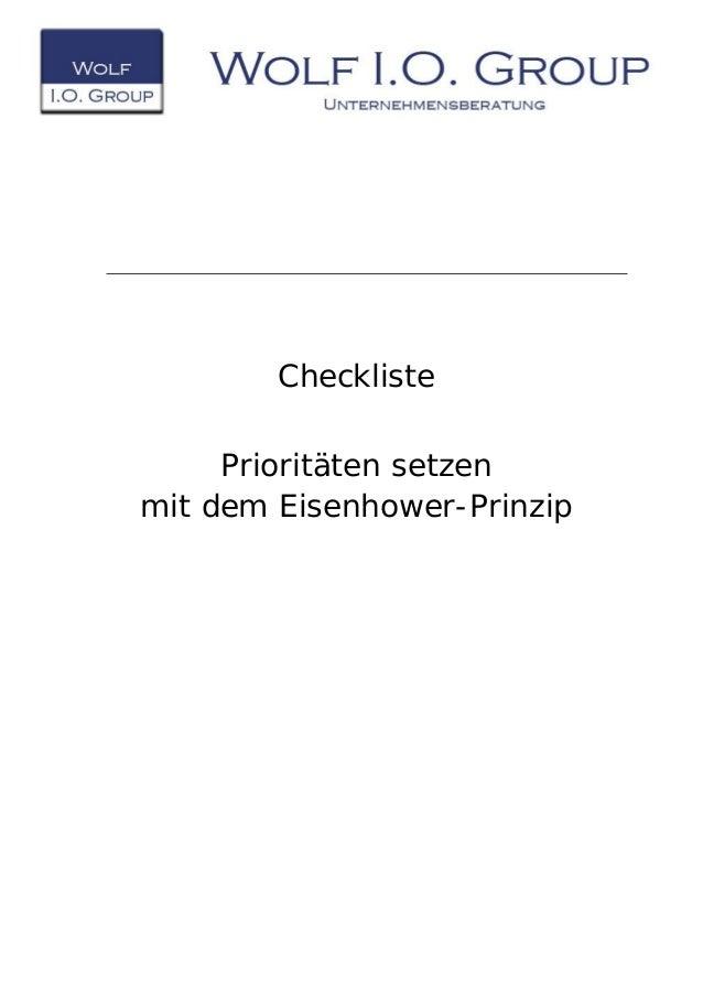 Checkliste Prioritäten setzen mit dem Eisenhower-Prinzip