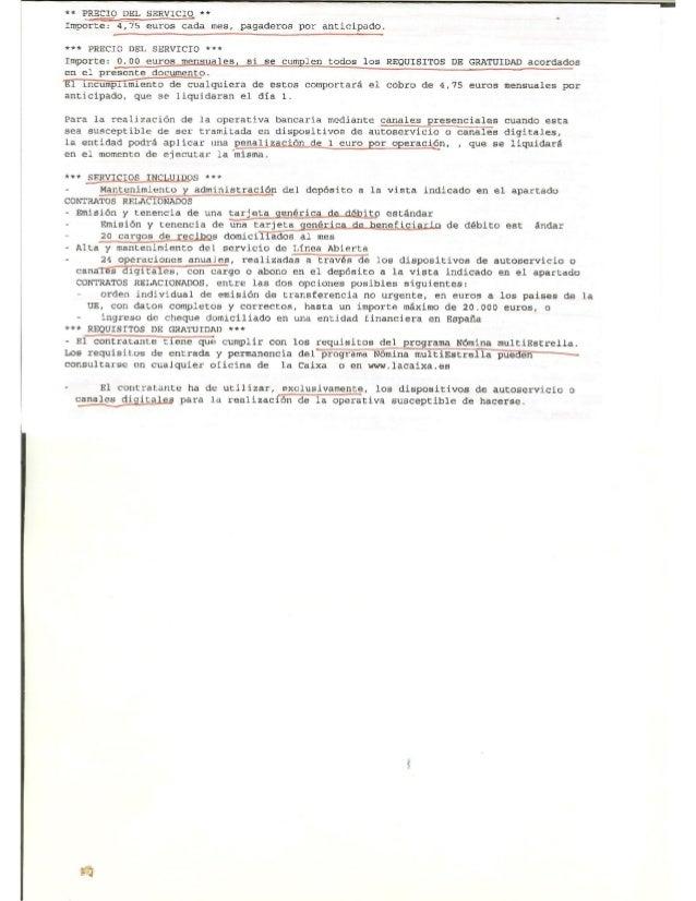 Contrato De La Cuenta N Mina De La Caixa