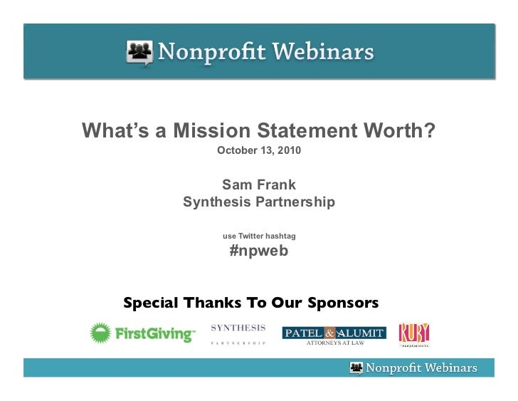 What's a Mission Statement Worth?               October 13, 2010                  Sam Frank           Synthesis Partnershi...