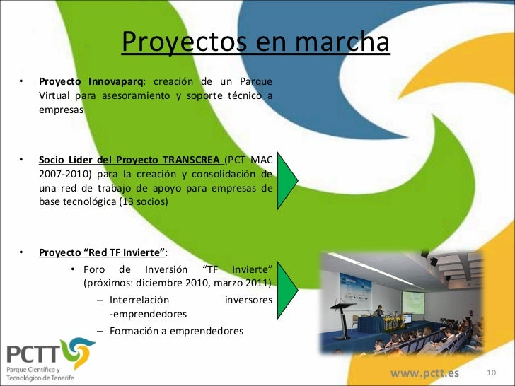 Proyectos en marcha <ul><li>Proyecto Innovaparq : creación de un Parque Virtual para asesoramiento y soporte técnico a emp...