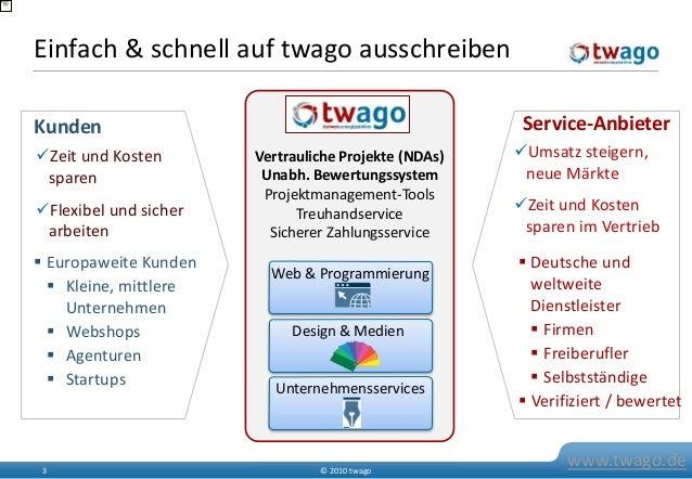 © 2010 twago3 www.twago.de Einfach & schnell auf twago ausschreiben Web & Programmierung Design & Medien Unternehmensservi...